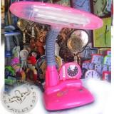 Лампа настольная детская с Часами, розовая