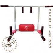 Турник-брусья+узкий хват 4в1 усиленный белый с красным
