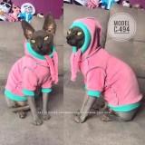 ТОЛСТОВКА для кота, С-494 (цвет - светло розовый, ткань - велюр)
