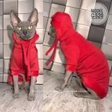 ТОЛСТОВКА для кота, С-520 (цвет- алый, ткань - трикотаж на меху)