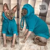 ТОЛСТОВКА для кота, С-536 (цвет- светло бирюзовый, ткань - трикотаж на меху)